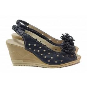Дамски сандали - естествена кожа - тъмносин - EO-15863