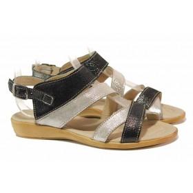 Дамски сандали - естествена кожа - черни - EO-15906