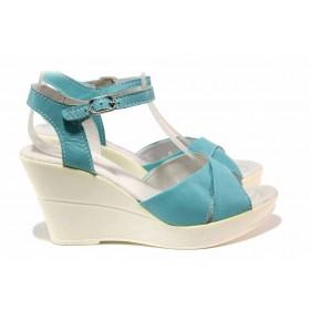 Дамски сандали - естествена кожа - сини - EO-15897