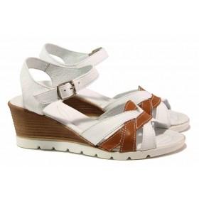 Дамски сандали - естествена кожа - бели - EO-15898