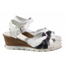 Дамски сандали - естествена кожа - бели - EO-15899