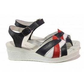 Дамски сандали - естествена кожа - тъмносин - EO-15882