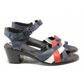 Дамски сандали - естествена кожа - тъмносин - EO-15879
