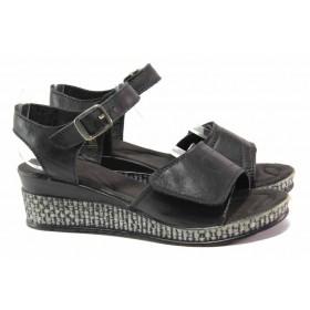 Дамски сандали - естествена кожа - черни - EO-15875