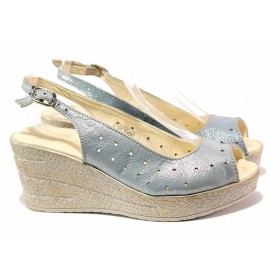 Дамски сандали - естествена кожа - светлосин - EO-15872