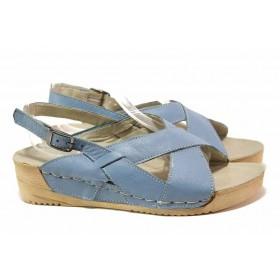 Дамски сандали - естествена кожа - сини - EO-15857