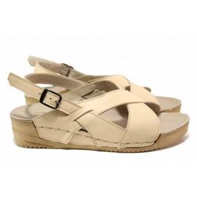 Дамски сандали - естествена кожа - бежови - EO-15856