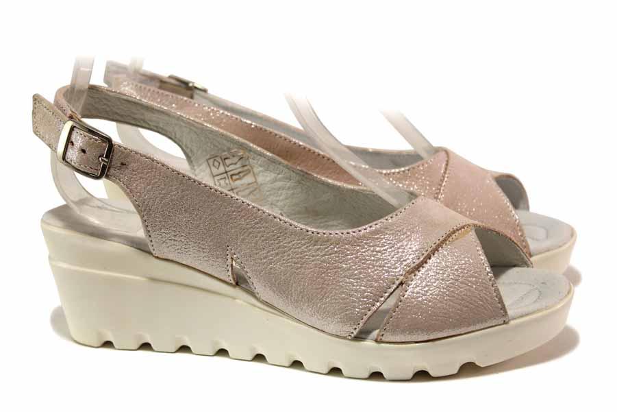 Дамски сандали - естествена кожа - розови - EO-15861