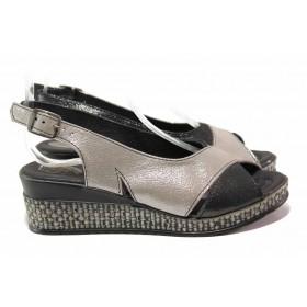 Дамски сандали - естествена кожа - сиви - EO-15860