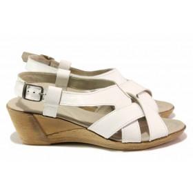 Дамски сандали - естествена кожа - бели - EO-15858
