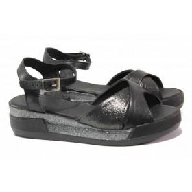 Дамски сандали - естествена кожа - черни - EO-15852