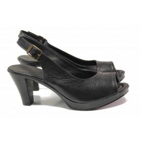 Дамски сандали - естествена кожа - черни - EO-15851
