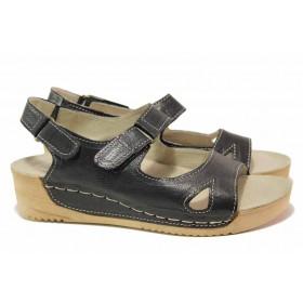 Дамски сандали - естествена кожа - черни - EO-15854