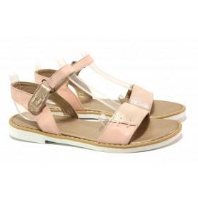 Дамски сандали - естествена кожа - розови - EO-15853