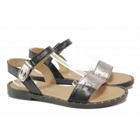 Дамски сандали - естествена кожа - черни - EO-15848