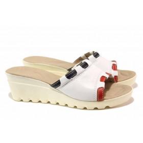 Дамски чехли - естествена кожа - бели - EO-15840