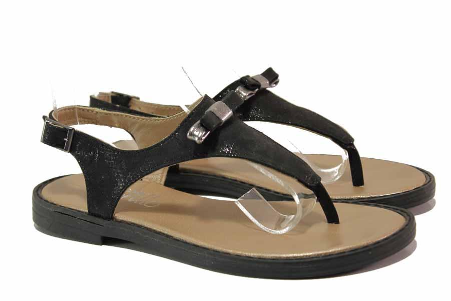 Дамски сандали - естествена кожа - черни - EO-15847