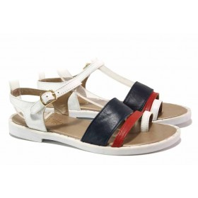 Дамски сандали - естествена кожа - бели - EO-15846