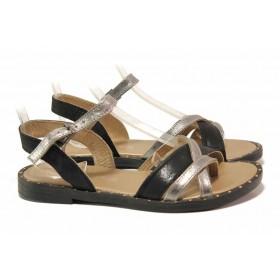 Дамски сандали - естествена кожа - черни - EO-15843