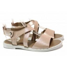 Дамски сандали - естествена кожа - розови - EO-15841