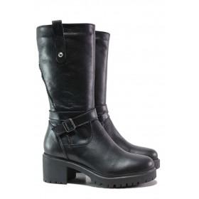 Дамски ботуши - естествена кожа - черни - EO-15883