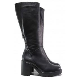 Дамски ботуши - естествена кожа - черни - EO-15888