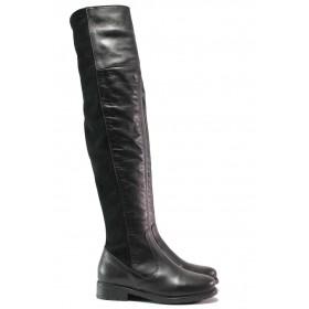 Дамски ботуши - естествена кожа - черни - EO-15890