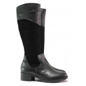 Дамски ботуши - естествена кожа с естествен велур - черни - EO-16315
