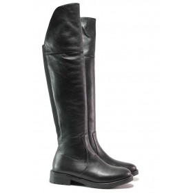 Дамски ботуши - естествена кожа - черни - EO-16317