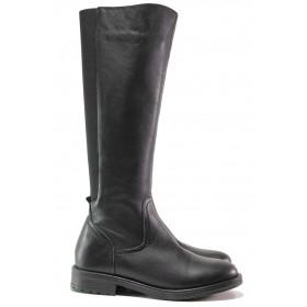 Дамски ботуши - естествена кожа - черни - EO-16320