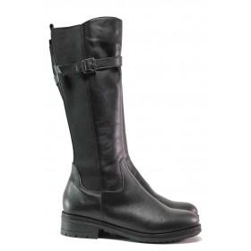 Дамски ботуши - естествена кожа - черни - EO-16334