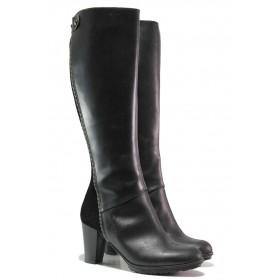 Дамски ботуши - естествена кожа с естествен велур - черни - EO-16335