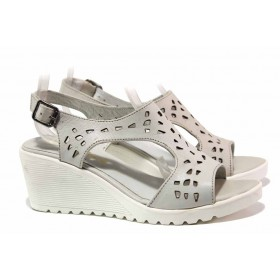 Дамски сандали - естествена кожа - бели - EO-15963
