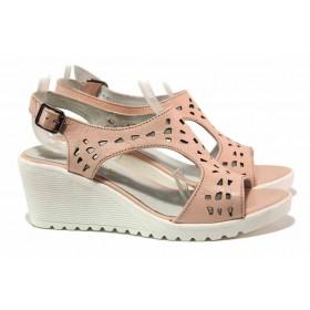 Дамски сандали - естествена кожа - розови - EO-15965