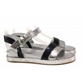 Дамски сандали - естествена кожа - сребро - EO-15954