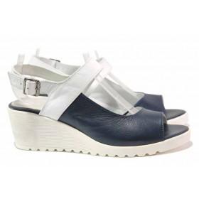 Дамски сандали - естествена кожа - тъмносин - EO-15958