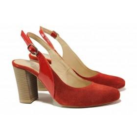 Дамски обувки на висок ток - естествен велур - червени - EO-15961