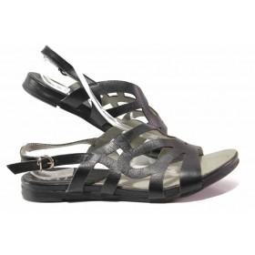 Дамски сандали - естествена кожа - черни - EO-15955
