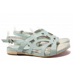 Дамски сандали - естествена кожа - зелени - EO-15956