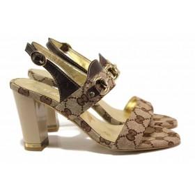 Дамски сандали - естествена кожа в съчетание с текстил - кафяви - EO-15959