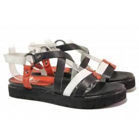 Дамски сандали - естествена кожа - черни - EO-15957