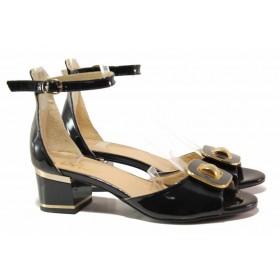 Дамски сандали - естествена кожа-лак - черни - EO-15960