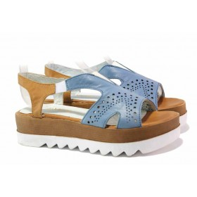 Дамски сандали - естествена кожа - сини - EO-15966