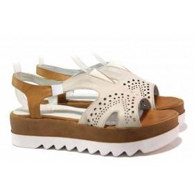 Дамски сандали - естествена кожа - бежови - EO-15967