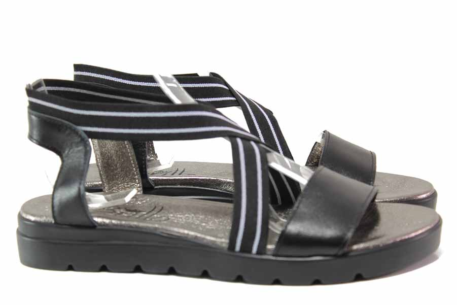 Дамски сандали - естествена кожа - черни - EO-15968