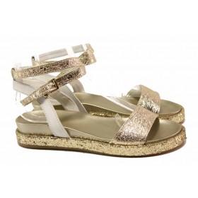 Дамски сандали - естествена кожа - жълти - EO-16008