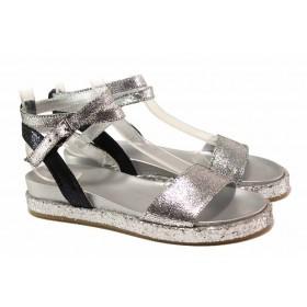Дамски сандали - естествена кожа - сребро - EO-16009