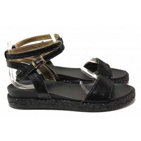 Дамски сандали - естествена кожа - черни - EO-15970