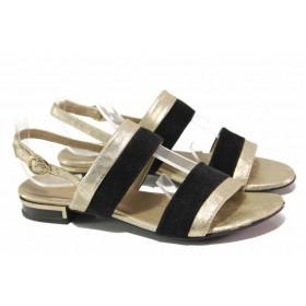 Дамски сандали - естествена кожа - черни - EO-15971