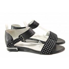 Дамски сандали - естествена кожа - черни - EO-15973